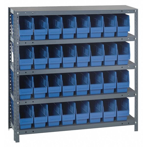 Quantum Storage Systems Bin Shelving,  Solid,  36X12,  32 Bins,  Blue 1239-201BL