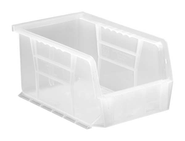 """Quantum Storage Systems Clear Hang and Stack Bin,  9-1/4""""L x 6""""W x 5""""H,  Outside Width: 6 in QUS221CL"""
