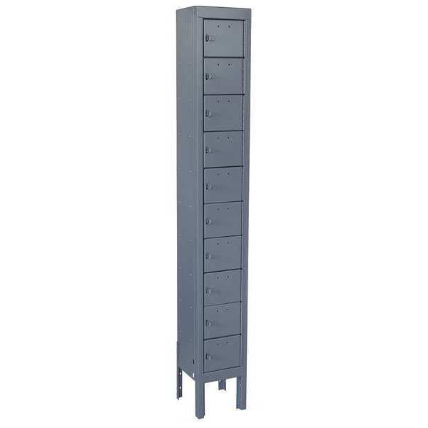 Zoro Select Cell Phone Locker, 1 Wide, 10 High, Gray 10Y618