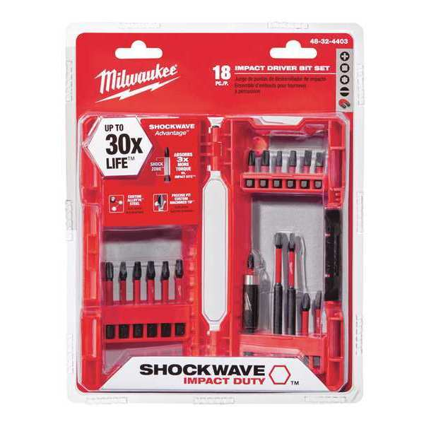 "Milwaukee Shockwave (R) Screwdriver Bit Set,  18 Pieces,  1/4"" Shank 48-32-4403"