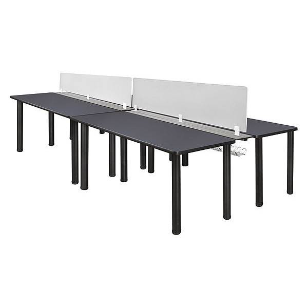 "Kee Desking Kee, Dbl Bnch Sys, PrivacyDivision, 60""x24"" MBSPD12024GYBPBK"