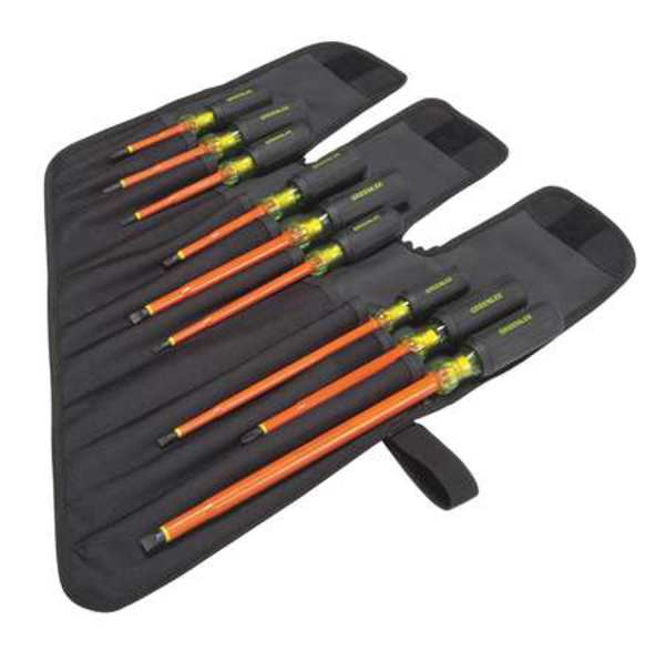 Greenlee Insulated Screwdriver Set, Slotted/Phillips, 9 pcs 0153-01-INS