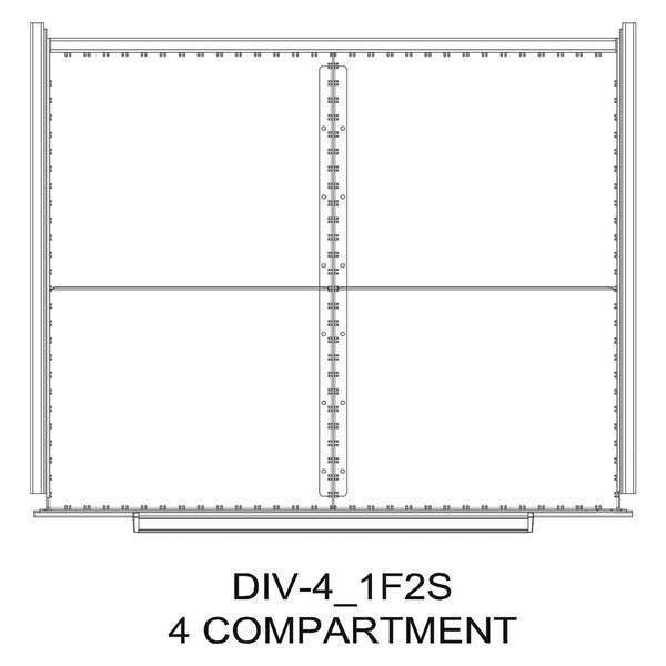 "Greene Manufacturing, Inc. Divider Kit, 4 Comp, 30""Wx28""D, 250 Drawer DIV-4-1F2S-3028 -250"