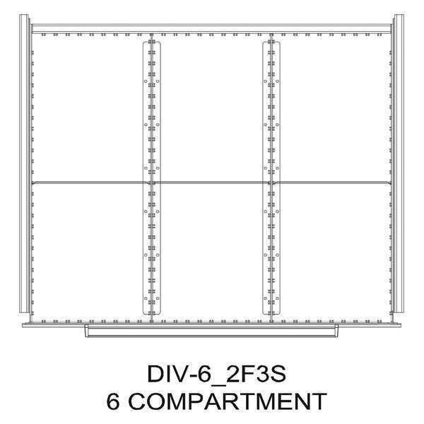 "Greene Manufacturing, Inc. Divider Kit, 6 Comp, 16""Wx28""D, 150/175 Dwr DIV-6-2F3S-1628 - 150/175"