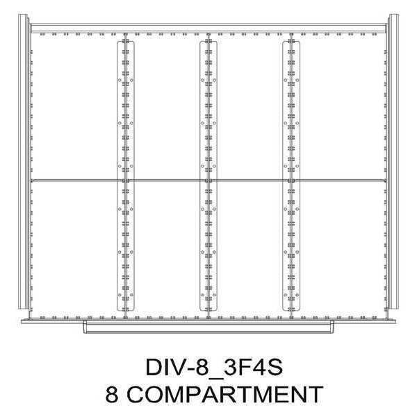 "Greene Manufacturing, Inc. Divider Kit, 8 Comp, 16""Wx21""D, 250 Drawer DIV-8-3F4S-1821 - 250"