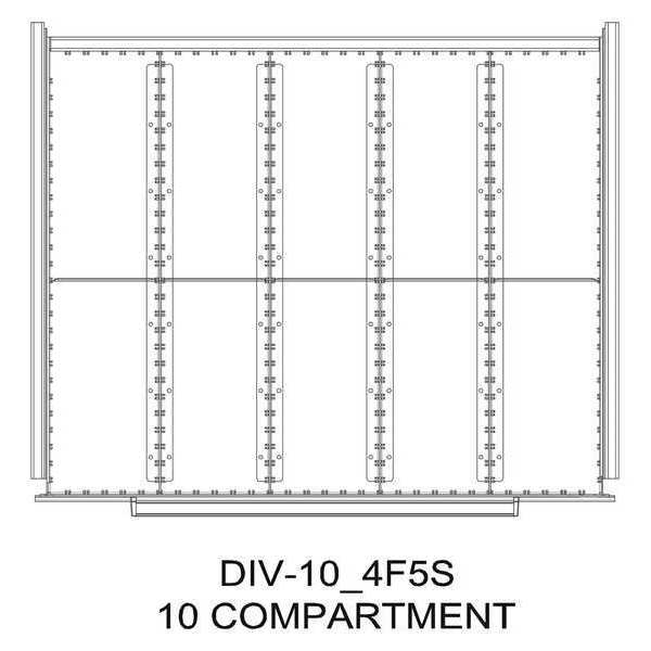 "Greene Manufacturing, Inc. Divider Kit, 10 Comp, 16""Wx21""D, 250 Drawer DIV-10-5F5S-1621 - 250"