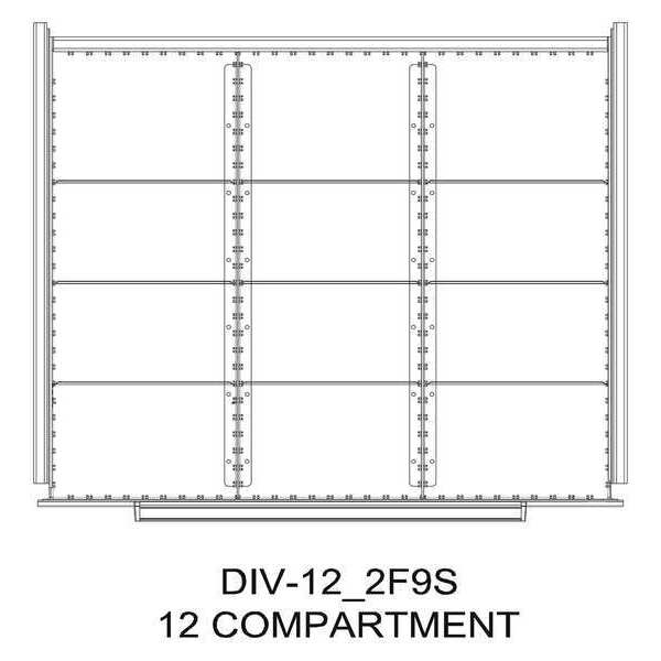 "Greene Manufacturing, Inc. Divider Kit, 12 Comp, 24""x24"", 150/175 Dwr DIV-12-2F9S-2424 - 150/175"
