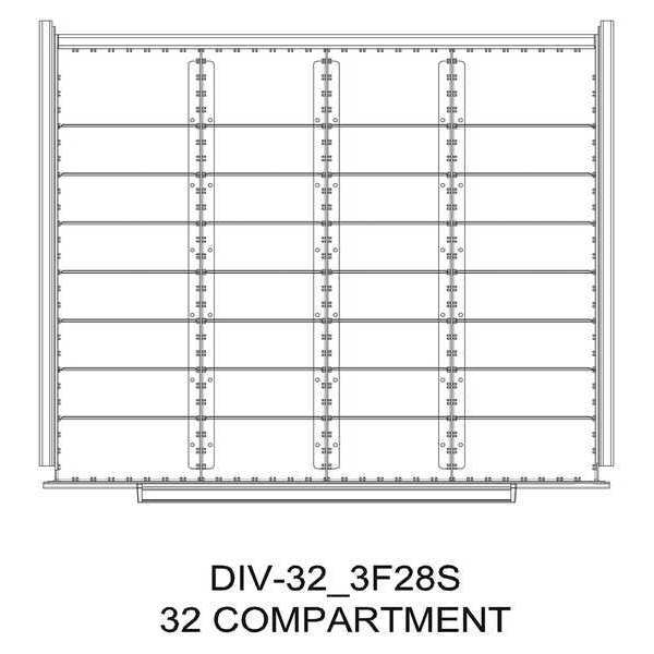 "Greene Manufacturing, Inc. Divider Kit, 32 Comp, 30""Wx24""D, 300 Drawer DIV-32-3F28S-3024-300"