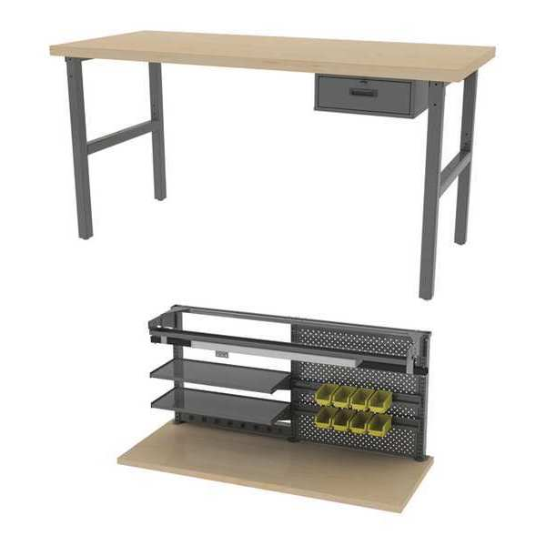 "Greene Manufacturing, Inc. Adjustable Workbench, 30""Dx72""L, Maple Top BT-306M-2-CFG6"