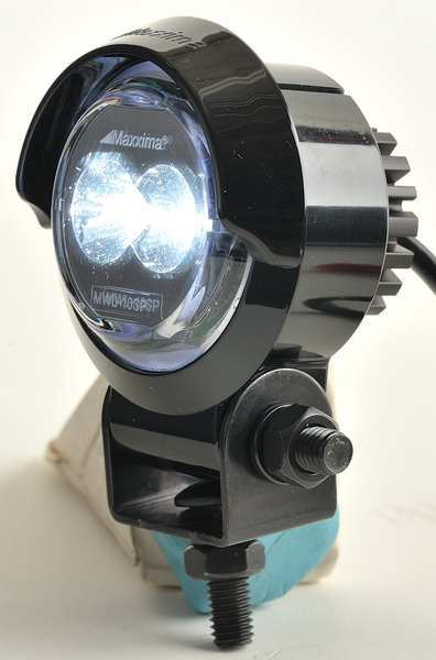 Maxxima Work Light,  Round,  LED,  12VDC,  2 In Dia,  Housing Color: black MWL-10SP-SM