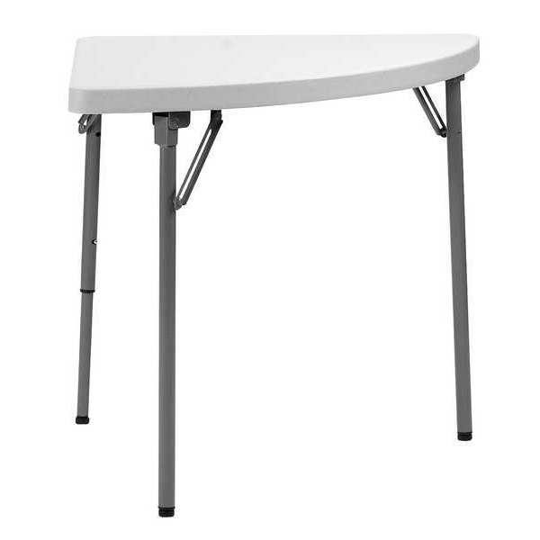 "Zoro Select Quarter Round Folding Table ,  30"" W 30"" L 29"" H,  White Tabletop 12F633"