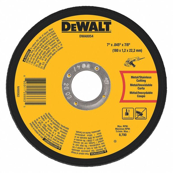 "Dewalt Metal Cut-Off Wheel, 7""x.045""x7/8"" DWA8054"
