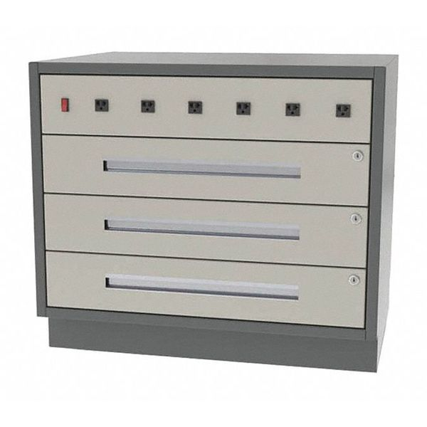"""Greene Manufacturing, Inc. Cabinet, 3 Drawer, 36""""Wx21""""Dx28""""H DT-3621-0400-W"""