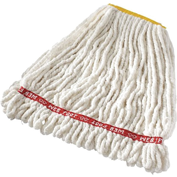 Rubbermaid Web Foot(R) 4-Ply Cotton/Synthetic Blend Yarn Web Foot Mop, Small, White FGA21106WH00
