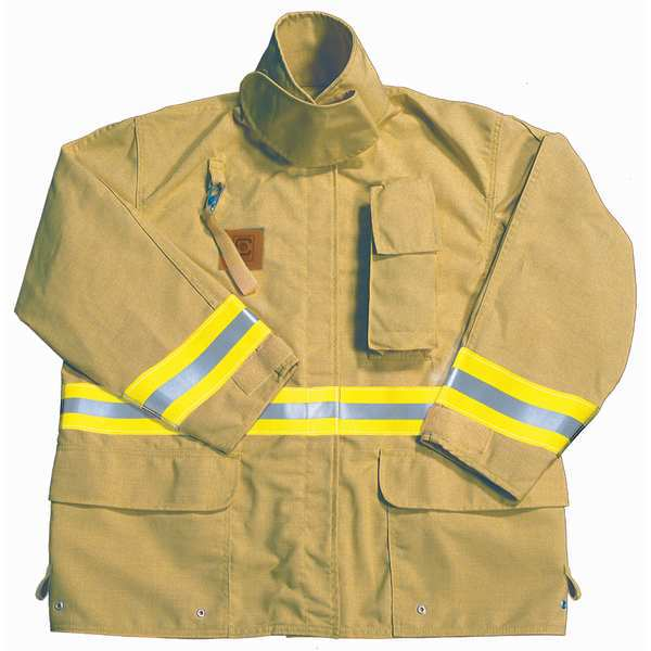 Fire-Dex Turnout Coat, Tan, 3XL, Nomex FS1J0573