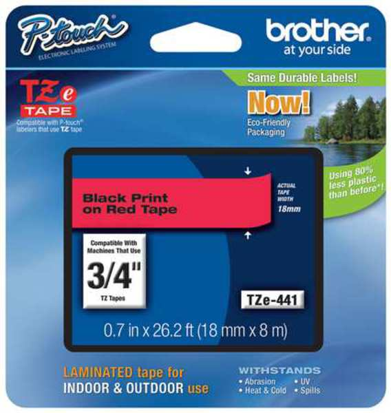 "Brother Adhesive TZ Tape (R) Cartridge 0.70""x26-1/5ft.,  Black/Red TZe441"