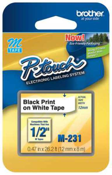 "Brother Adhesive Label Tape Cartridge 0.47"" x 26-1/5 ft.,  Black/White M231"