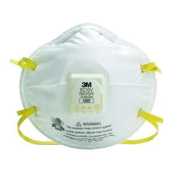 3M N95 Disposable White Particulate Respirator w/ Valve 10pk. 8210V