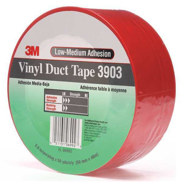 3M Duct Tape, 2 In x 50 yd, 6.5 mil, Red, Vinyl 3903