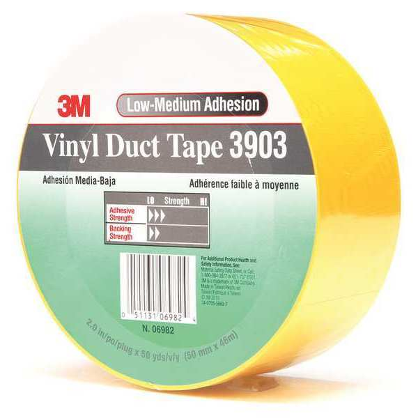 3M Duct Tape, 2 x 50 yd, 6.5 mil, Yellow, Vinyl 3903