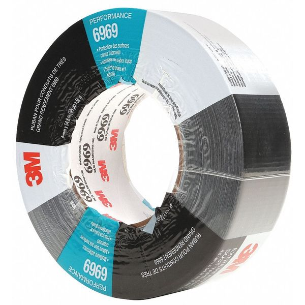 3M Duct Tape, 2 In x 60 yd, 10.5 mil, Black 6969