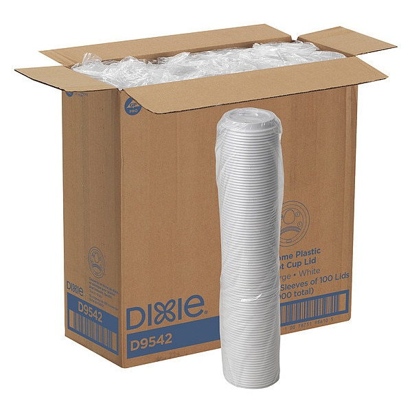 Dixie Lid for 12 to 20 oz. Hot Cup,  Dome,  Sip Through,  White,  Pk1000 D9542