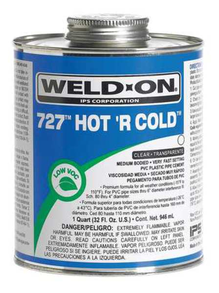 Weld-On PVC Hot 'R Cold Clear Medium Bodied Quart 13982