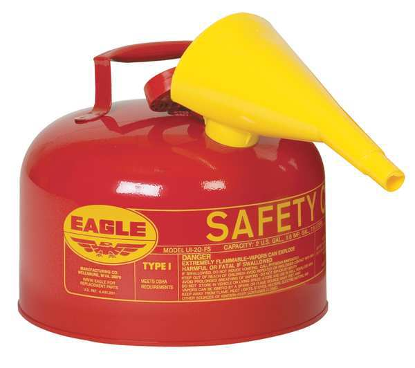 Eagle 2-1/2 gal. Red Galvanized steel Type I Safety Can for Flammables UI25FS