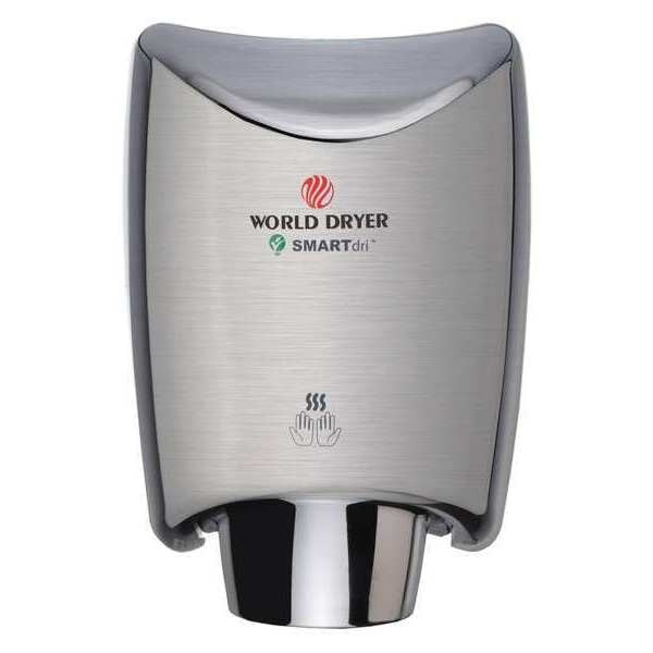 World Dryer Hand Dryer, 208-240V, Brushed SS K4-973A2