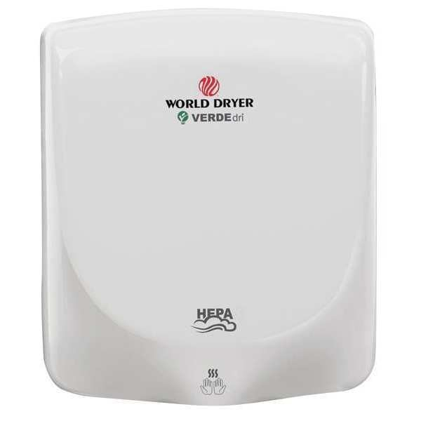 World Dryer Hand Dryer, 110-240V, Aluminum, White Q-974A