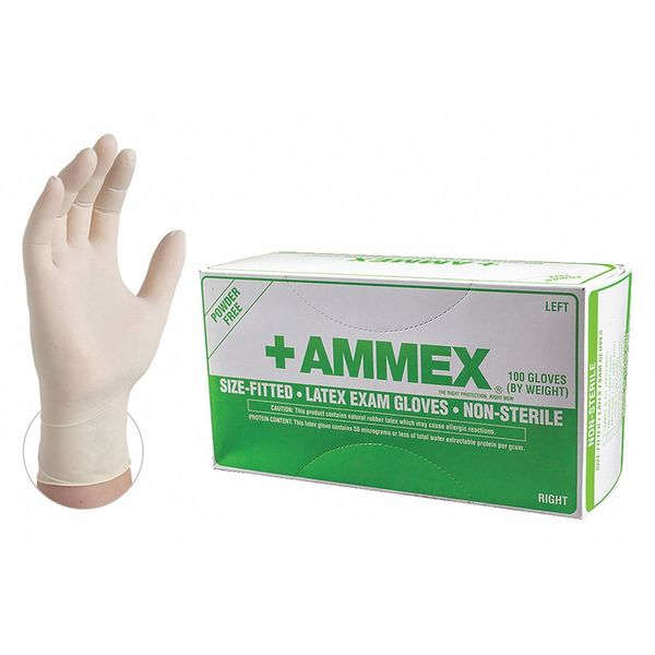 Ammex Disposable Exam Gloves,  Latex,  Powder Free,  Ivory,  8,  50 PK APFLR8.0BX