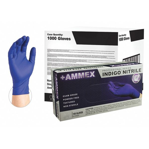 Ammex Disposable Exam Gloves,  Nitrile,  Powder Free,  Indigo,  S,  1000 PK AINPF42100CS