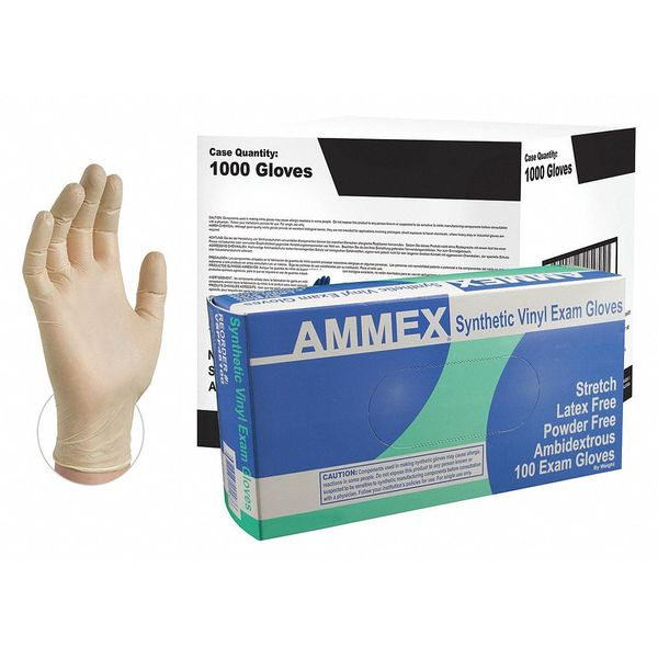 Ammex Disposable Exam Gloves,  Vinyl,  Powder Free,  Ivory,  S,  1000 PK VSPF42100CS