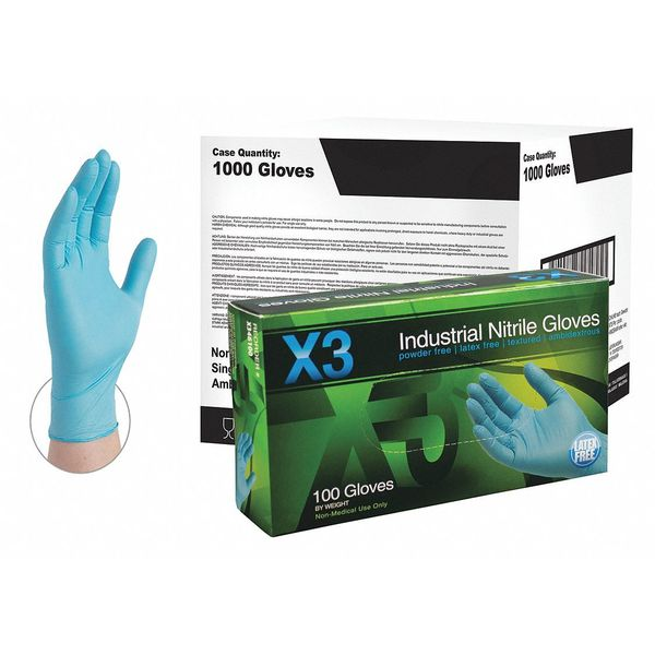 Ammex Disposable Gloves,  Nitrile,  Powder Free,  Blue,  M,  1000 PK X344100CS