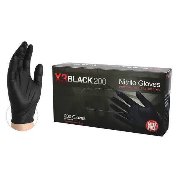 Ammex Disposable Gloves,  Nitrile,  Powder Free,  Black,  M,  200 PK BX3D44100BX