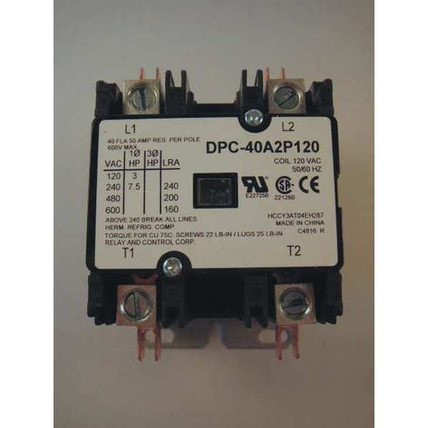 Relay And Control Corp. 120VAC Definite Purpose Contactor 2P 40A,  Number of Poles: 2 DPC-40A2P120