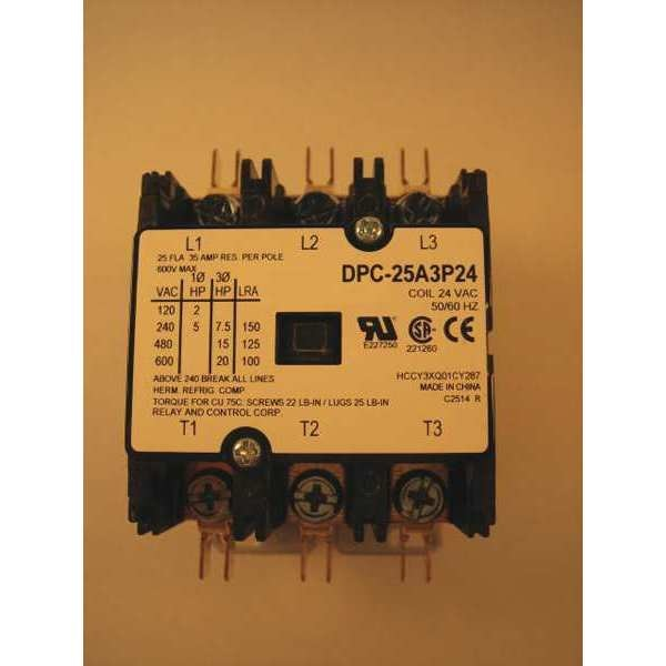 Relay And Control Corp. 24VAC Definite Purpose Contactor 3P 25A DPC-25A3P24
