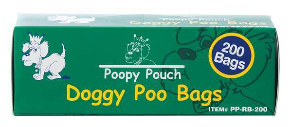 Poopy Pouch Pet Waste Bag,  13in Hx8in W,  3/4 gal.,  PK10 PP-RB-200