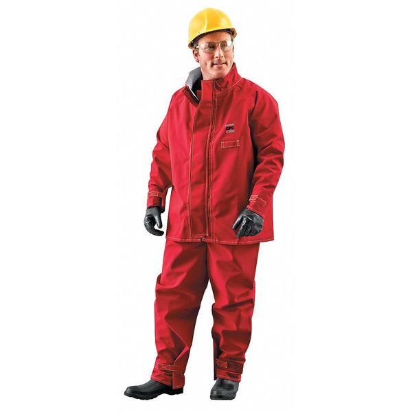 Ansell Chemical Resistant Jacket ,  Xl ,  Red ,  zipper 66-660