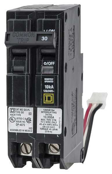 Schneider Electric 30 A Plug In PowerLink Miniature Circuit Breaker ,  120/240V AC QO230PLILC