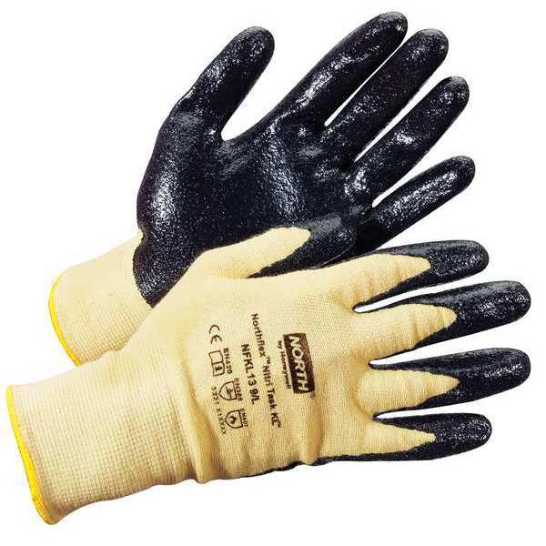 Honeywell Nitrile Coated Gloves,  Palm Coverage,  Black/Yellow,  XS,  PR NFKL13/6XS