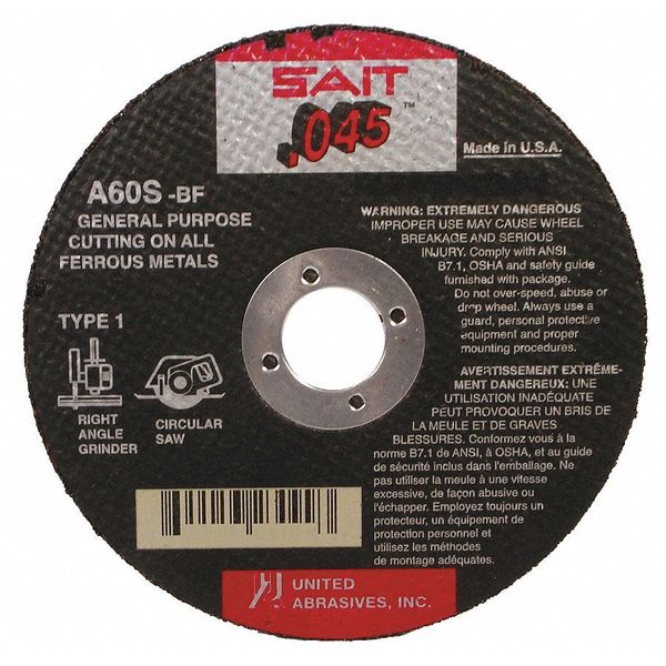 "United Abrasives-Sait CutOff Whl, A60S, 6""x.045""x7/8"", 10200rpm 23106"
