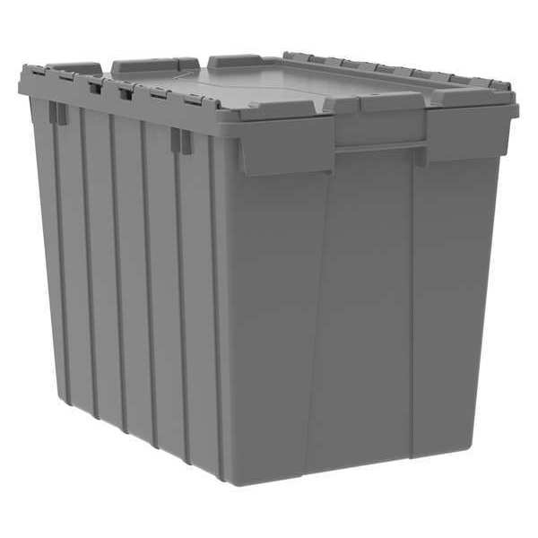 Akro-Mils Attached Lid Container,  2.28 cu. ft.,  Gray 39170