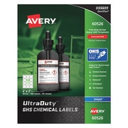 "AVERY 2"" x 2"" GHS Chemical Labels for Inkjet Printers,  600 labels/50-sheets"