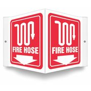 White on Red 10 Height x 7 Width Glow in Dark Recycled Plastic Fire Alarm with Arrow ZING 1891G Zing Safety Sign