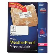 "Avery® WeatherProof™ Mailing Labels with TrueBlock® Technology for Laser Printers 5523,  2"" x 4"",  Box of 500"
