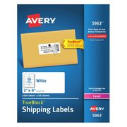 AVERY Laser Labels, 2x4, 10 Sheets, White, PK2500