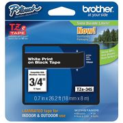"BROTHER Adhesive TZ Tape (R) Cartridge 0.70""x26-1/5ft.,  White/Black"